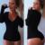 Sexy Bodysuit Mulher Top de Manga Longa de Verão Camisa Moda Mulheres Macacão E Macacões Bodysuit Preto Com Decote Em V Blusa Top
