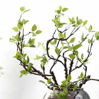 1Pc real touch Artificial Bending tree branches with green leaves for flower arrange home DIY decoration fake flower plants