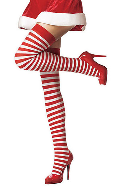 c6992a80d978d Womens Sexy Red White Striped Christmas Stocking Cute Christmas Thigh High  Stockings for Women