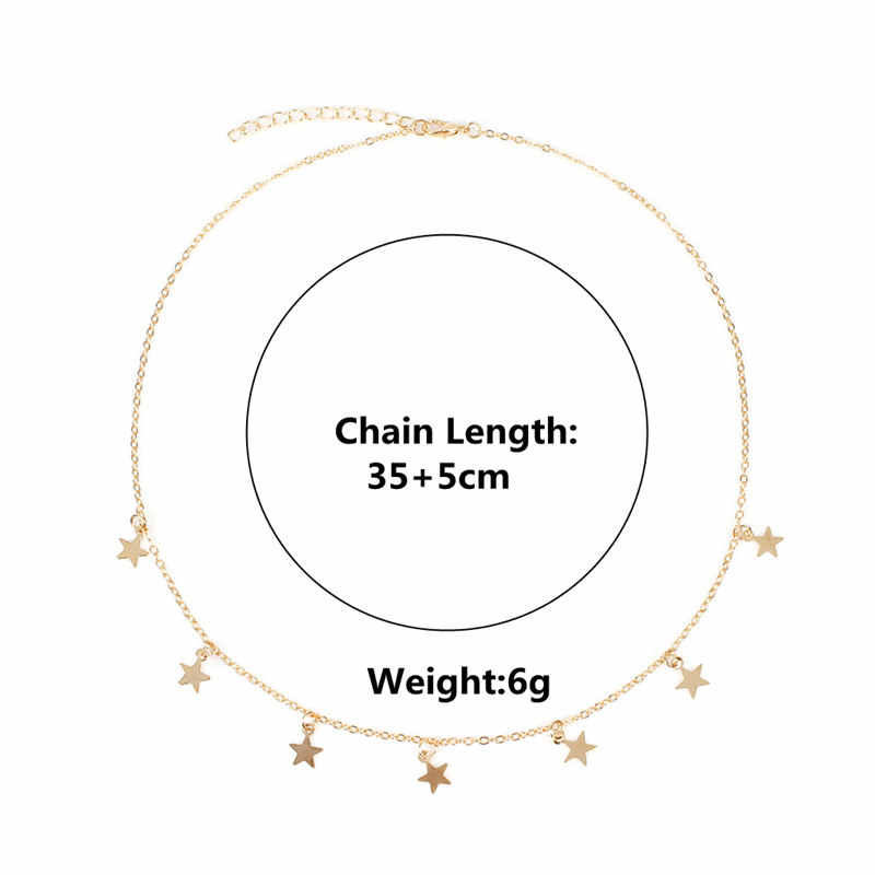 Star Necklace Women Choker Kolye Gold Silvery Moon Necklaces Boho Pendants Collier Femme Chain Collar collares de moda 2019 New