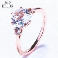 Helon Специальные! три камня 2.431ct белый топаз Романтический Обручальное Свадьба Изысканные кольца для женщин Jewelry Кольцо Твердые 14 К розовое з