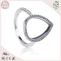 Nieuwe Collectie Populaire CZ Bestrating Water Drop Ontwerp 925 Real Zilver Teen Ring