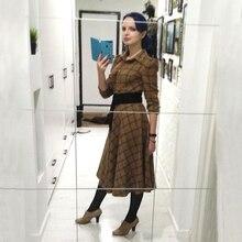 Vintage Plaid Wool Dress Women Winter Thicken Warm Elegant Stylish Ladies Skinny Retro Long Party Shirt Dresses Sale