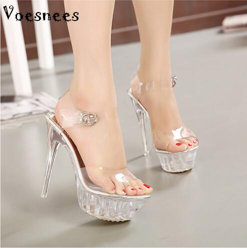 Sandals women Platform model T Stage Show Sexy High-heeled Shoes 14 cm High Transparent Crystal Waterproof Plus Size 35-43 free shipping 7cm sandals big size sexy high heeled sandals high heeled shoes model shoes 5 14 5