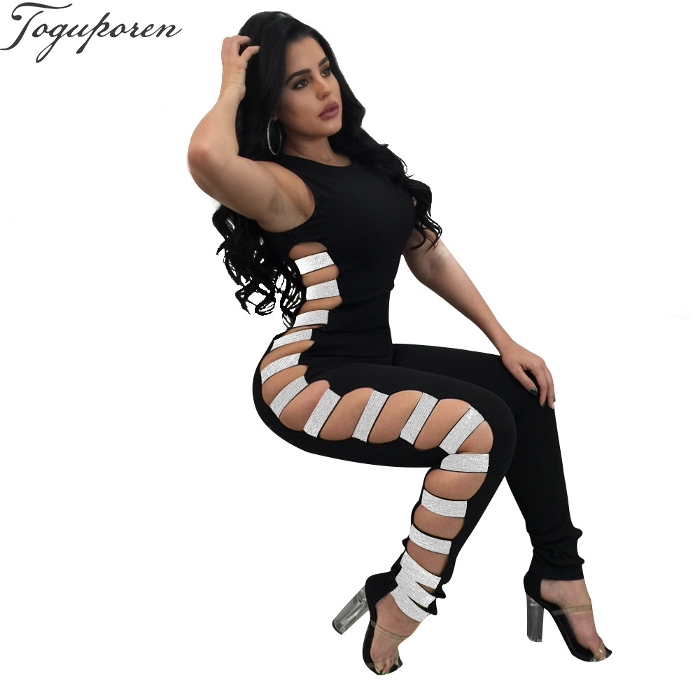 women jumpsuit sequins lace up sexy club party jumpsuit back zipper bodysuit skinny jumpsuits bodycon rompers