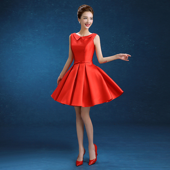 New Short Bridesmaid Dresses Red Elegant High Neck Girls Dress V-Back Ball Prom Party Pageant Graduation Formal Dress/Gown infant toddler pageant cute princess girls sequins flower party dress gown bridesmaid prom dresses