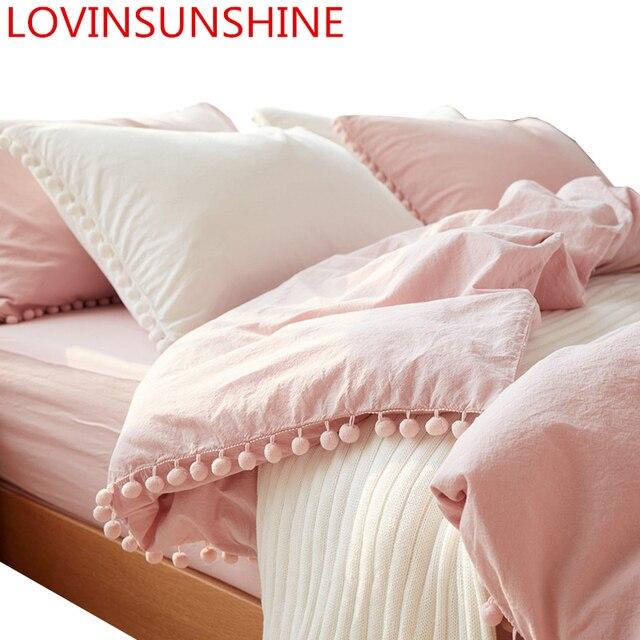 LOVINSUNSHINE sevimli pembe prenses yatak takımları yıkanmış top kumaş kraliçe kral yorgan kapak yastık kılıfı rahat cc44 #