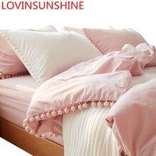 Lovinsun لطيف الوردي الأميرة الفراش مجموعات مع غسلها الكرة النسيج الملكة الملك حاف الغطاء المخدة مريحة cc44 #