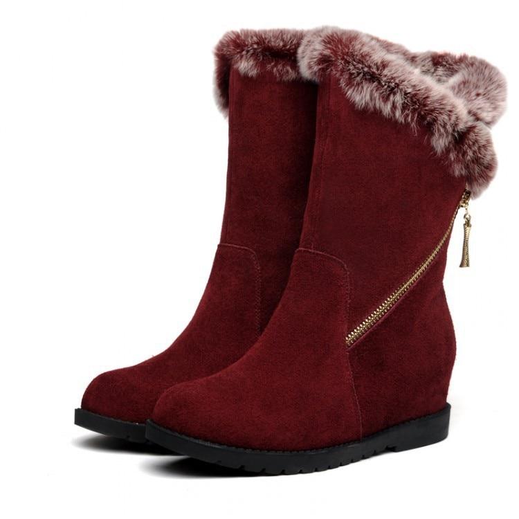 Women Autumn Winter Genuine Leather Height Increase Elevator Rabbit Fur Round Toe Zipper Fashion Half Boots Size 34-39 SXQ0826