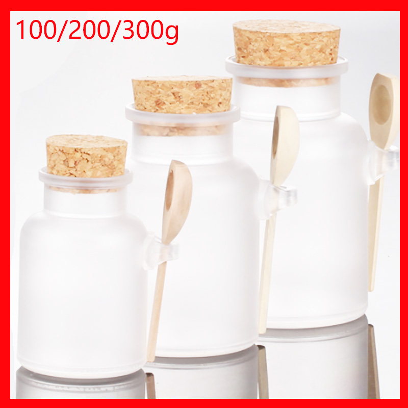 100 200 300ML round bottle bath salt plastic bottle cork salt spoon paste cream mask Refillable