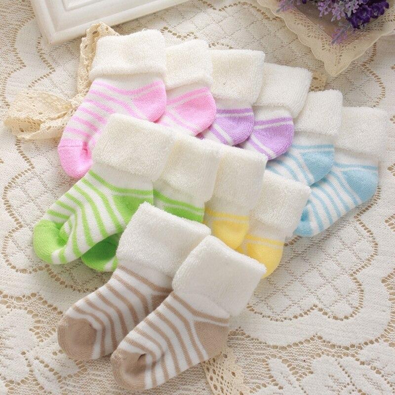 0 3Y Newborn Infant Stripe Thickening Autumn Winter Warm Cotton Sock Soft Girl Boy Socks Terry Flanging Kids Socks in Socks from Mother Kids