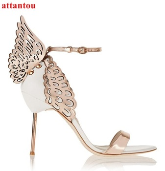 Summer Woman sandals cover heel Rose GoldWhite contrast color Angel Wing Sandals high metal stiletto heel female dress shoes sandal