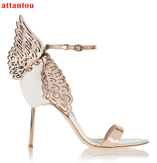 Summer Woman sandals cover heel Rose Gold/White contrast color Angel Wing Sandals high metal stiletto heel female dress shoes