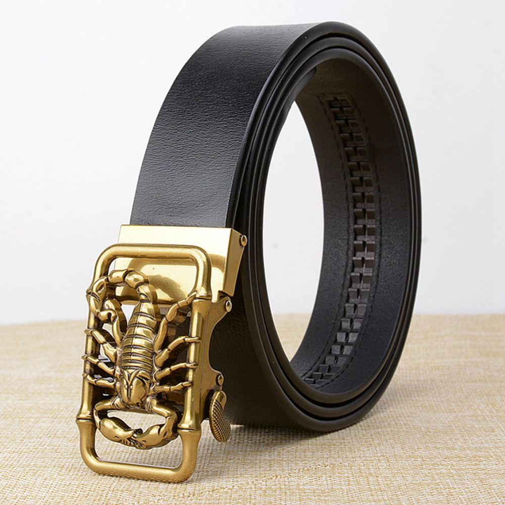 Latest Design Scorpion Automatic Buckle Men Belts Genuine Leather Causal Male Jeans Waist Strap Cow for Cinto