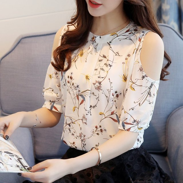ffd4f40e721c Summer Style 2018 Floral Shirt For Womens Elegant Open Shoulder Blouses  Chiffon Print Blusas Women Ete Plus Size Female Tops -in Blouses & Shirts  from ...