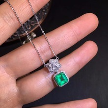 AIGS Fine Jewelry Certificate Real 18K White Gold AU750 Natural Green Emerald 1.67ct Gemstones Pendants for Women Necklace