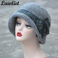 A374 Designer Look 20s Style Ladies Women Gray Wool Felt Cloche Hat Fedora Cap Bowler Hat