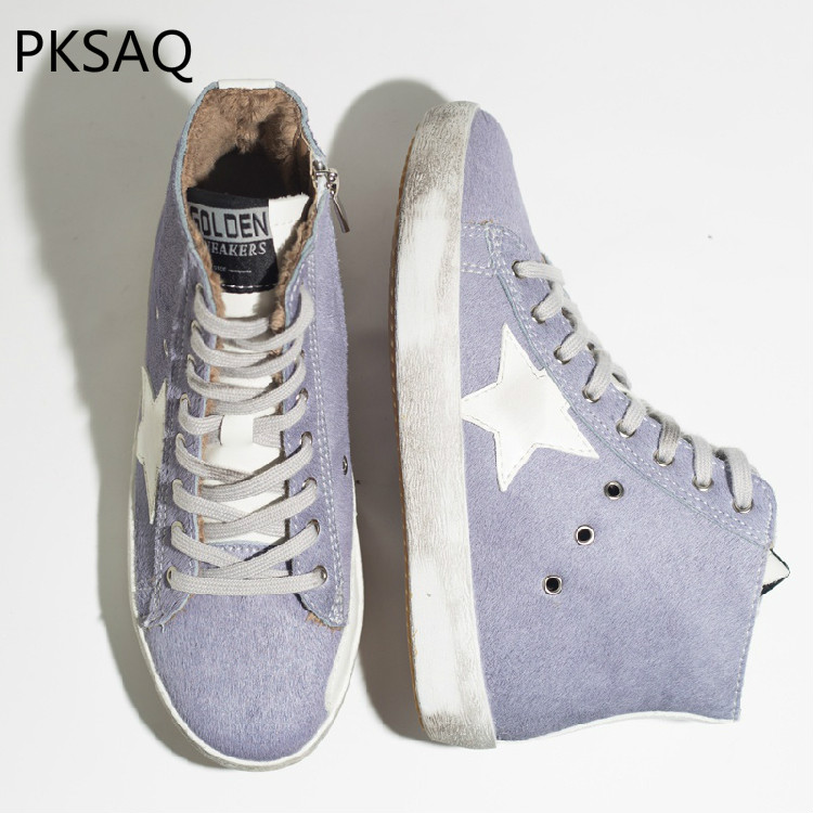 New Autumn Winter Women High Sneaker Shoes Ladies' Lace Up Five Star Purple Horsehair Fashion Casual Bule Do Old Dirty Shoes autumn winter new women purple little dirty do old shoes horse hair fur white shoes ladies star lace up flat casual shoes
