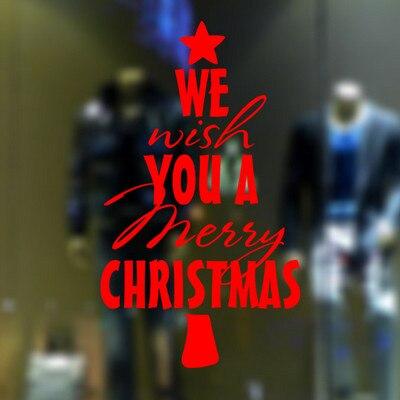 Рождество дерево слово Рождество Санта clauswords стикер домашнего декора магазин магазине Chirstmas вечерние наклейки украшения