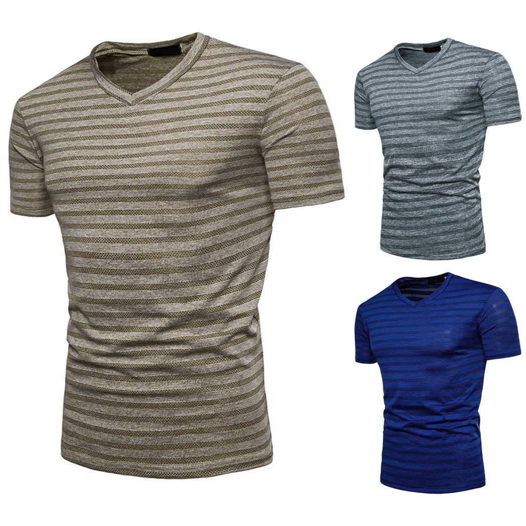 2018セクシーな夏のtシャツ男性vネックストライプ半袖tシャツ男性トップスカジュアルメンズスリムフィットフィットネスtシャツオム