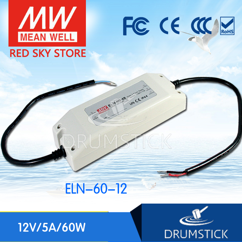 hot-selling MEAN WELL ELN-60-12 12V 5A meanwell ELN-60 12V 60W Single Output LED Driver Power Supply [Hot1] genuine mean well irm 60 12st 12v 5a meanwell irm 60 12v 60w screw terminal style