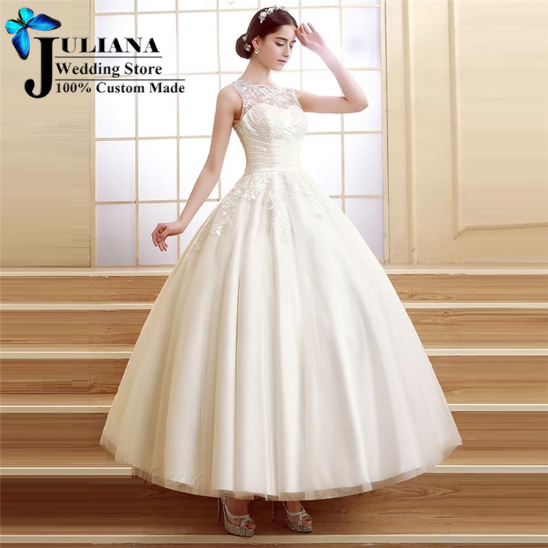 Plus Size Wedding Ball Gowns: 2016 Ankle Length Princess Ball Gown Wedding Dress Lace