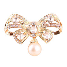 Fashion hand-made bow pearl crystal pendant wedding brooch Women female pin(China)