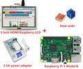 Новый Raspberry Pi 3 Модель B + 5 Дюймов HDMI Raspberry LCD + радиаторы + 5 В 2.5A адаптер питания ЕС plug Для Raspberry Pi 3 комплект