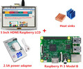 Nueva Frambuesa Raspberry Pi 3 Modelo B + 5 Pulgadas HDMI LCD + disipadores de calor + 5 V 2.5A adaptador de corriente enchufe de LA UE Para Raspberry Pi 3 Kit