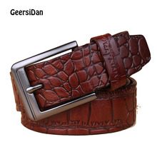 лучшая цена GEERSIDAN 100% Cowhide Genuine Leather Belts for Men Brand Strap Male Pin Buckle Fancy Vintage Cowboy Jeans Cintos Free shipping