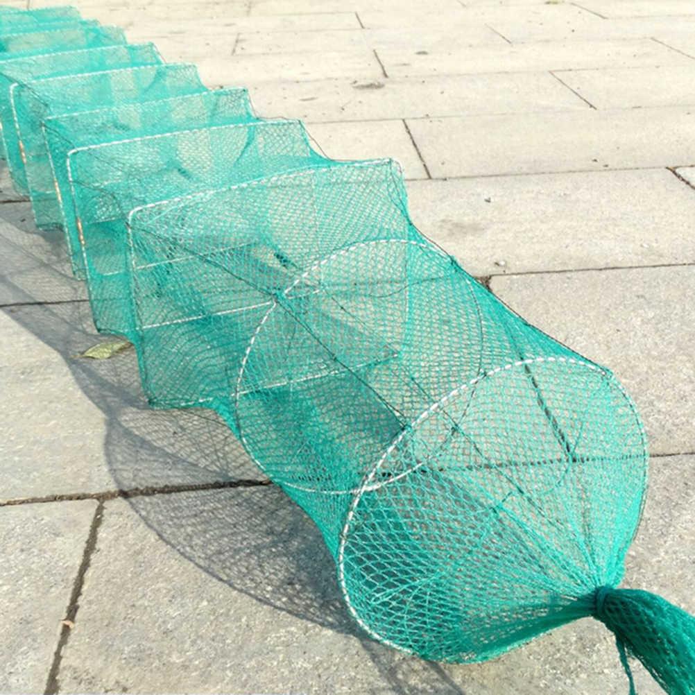 1.5m 11 ช่วงเวลาตกปลาแบบพกพาCrayfish Catcherปลากุ้งไนลอนNets