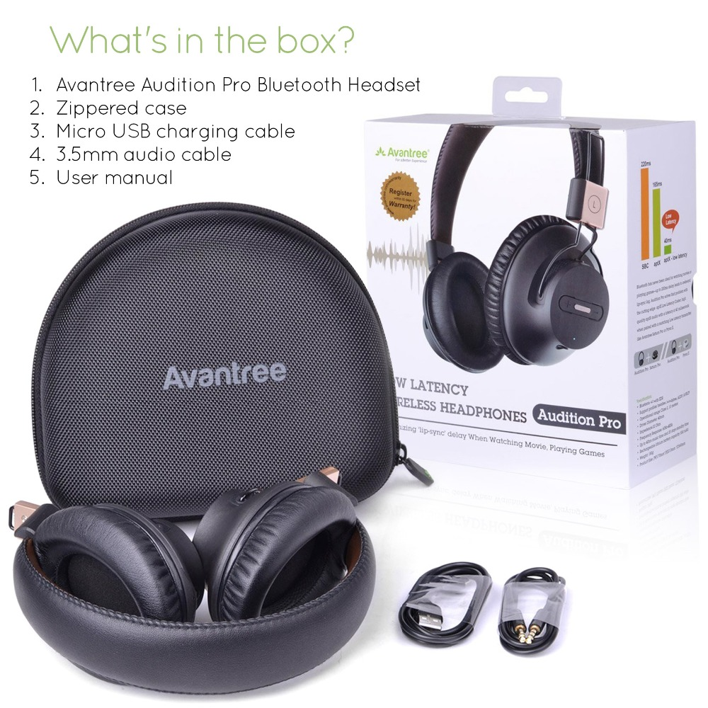 Avantree Audition Pro Wireless Bluetooth Over Ear Headphones LOW LATENCY With Fast Audio