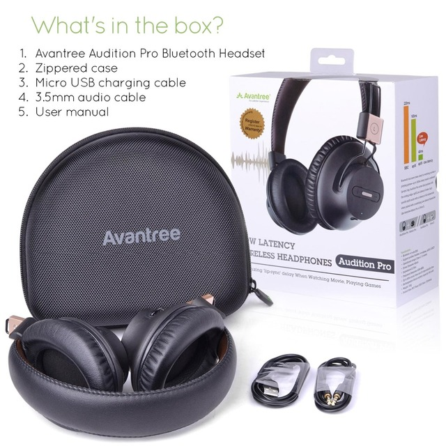 Avantree Audition Pro Wireless Bluetooth Over Ear Headphones LOW LATENCY with fast audio aptX Headset for Gaming TV PC-AS9P