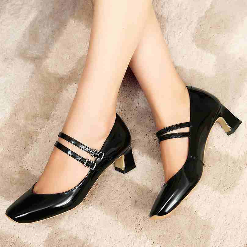Подробнее о Fashion Women Shoes Patent Genuine Leather Square Toe Preppy Style High Heel Buckle Lazy Pumps High Quality Mary Jane Shoes 62 krazing pot new fashion brand gold shoes patent leather square toe preppy style med heels buckle women pumps mary jane shoes 90