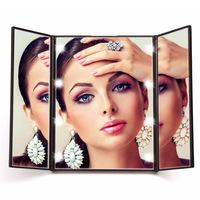Portable Fashion LED Touch Screen Travel Vanity Mirror Folding Table 8 LED Lights Luminous Professional Cosmetic