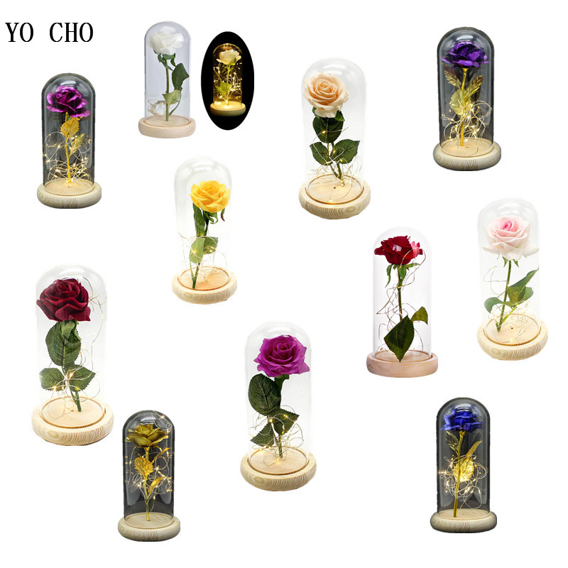 YO CHO Beauty and the Beast LED Lamp Silk Rose in Glass Dome Red Rose Preserved Flower Valentines day Gift Box Home Decor Flores