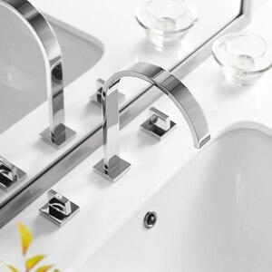 Image 4 - Bacia torneiras de latão polido chrome deck montado quadrado pia do banheiro torneiras 3 buraco dupla alça água quente e fria LT 109