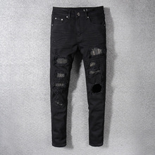 American Streetwear Fashion Men Jeans Black Color Destroyed Denim Pants hombre Ripped Jeans Men Brand Hip Hop Skinny Jeans homme