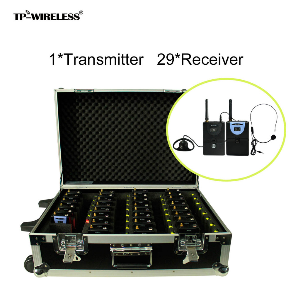 TP-Wireless Portable Pull Rod 2.4GHz Tour Guide System Charging Case 1Transmitter 29Receivers Items tp wireless tour guide system for teaching travel simultaneous translation meeting museum visiting 1 transmitter 30 receivers