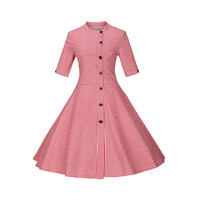 Sisjuly Women Summer Black Blue Red Dress Women Stand Collar Cotton Knee Length Female Dress Half