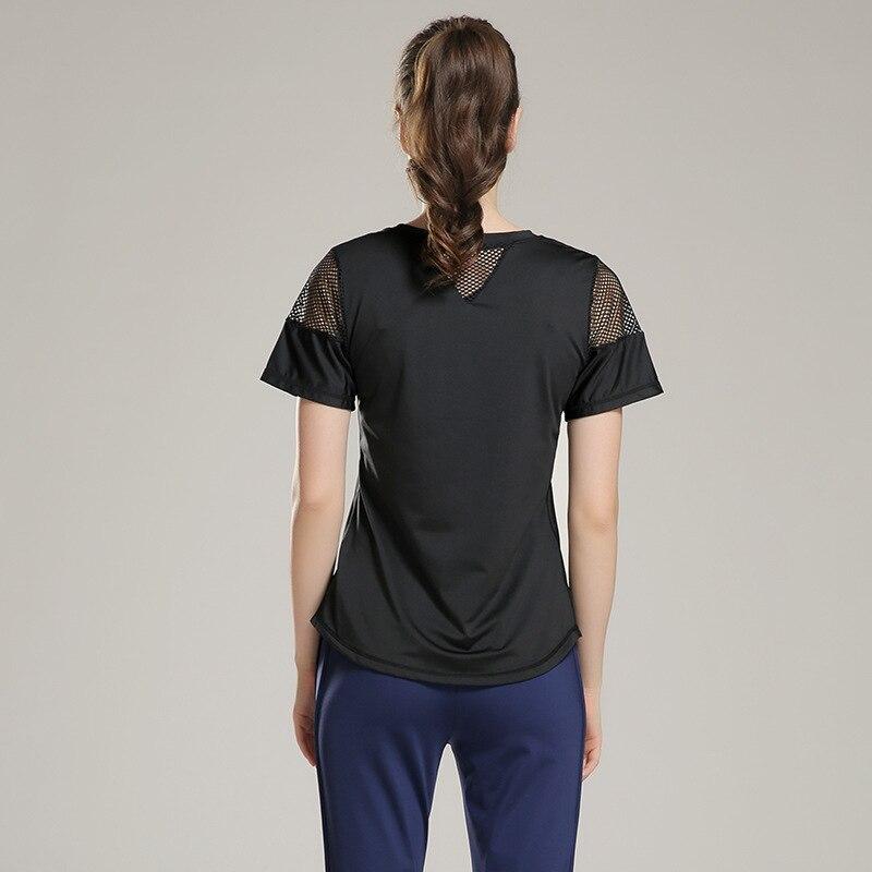 Eshtanga woman short sleeve shirt  Elastic Yoga Mesh Sports T Shirt Fitness Women's Gym Running Black Tops tee free shipping 1