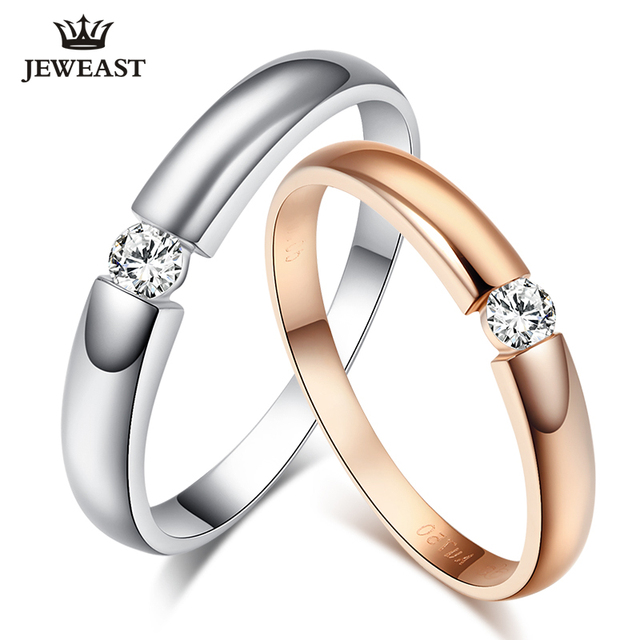 18K Gold and White Gold Rose Gold Diamond Couple Ring Wedding Ring