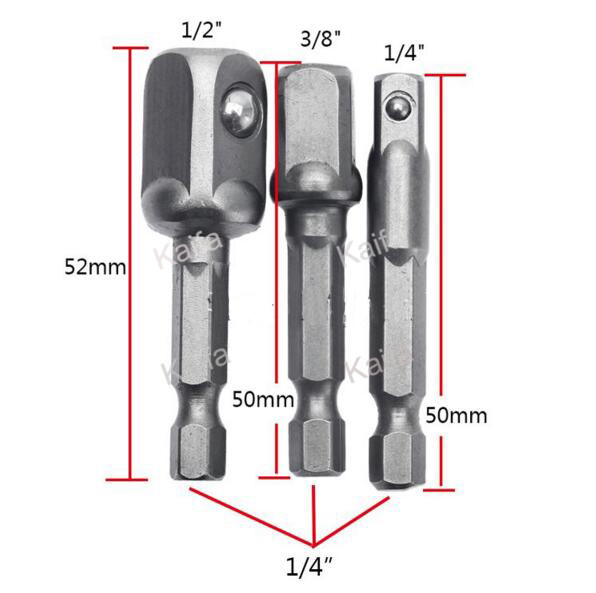 3pcs/lots  Chrome Vanadium Steel Socket Adapter Set Hex Shank to 1/4 3/8 1/2 Extension Drill Bits Bar Hex Bit Set Power Tools 12pcs ratchet wrench socket spanner set hardware vanadium chrome vanadium steel repairing kit hand tools set fuli