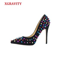 XGRAVITRY Colourful Rivets Design Pointed Toe Dress Shoes Sexy Super High Heel Pumps Elegant Pretty Lady Shoes Party Shoes S042