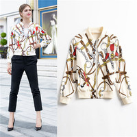 European street style bomber jacket chains printed women 2018 new autumn winter long sleeve beige coat zip up baseball coat xl