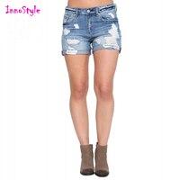 Blu lavato pantaloncini di jeans per le donne dell'annata strappato pantaloncini jeans delle signore orlo arrotolato distressed danneggiato shorts in denim scarni calzoni