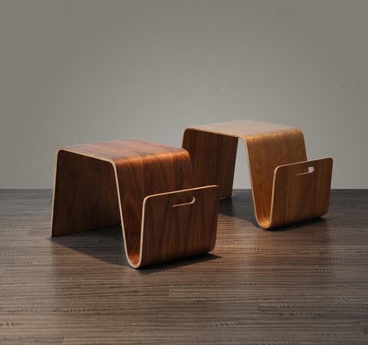 Table d'extrémité moderne de conception du milieu du siècle de contreplaqué en bois courbé pour le petit déjeuner, Table de lit de thé de côté de meubles de salon de Magazine pour l'ordinateur portable