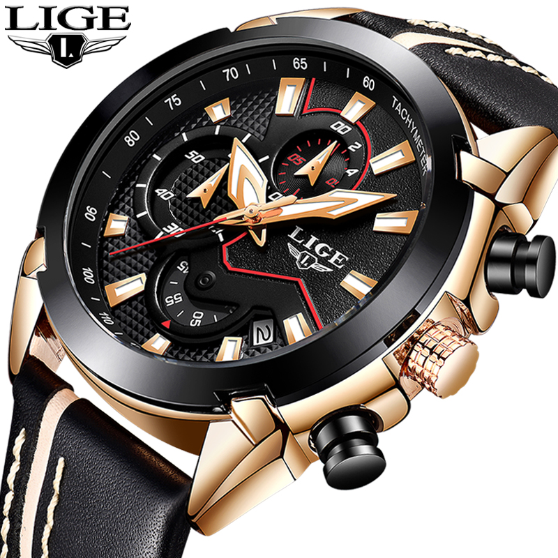 LIGE Fashion Sports Chronograph Leather Mens Watches Top Brand Luxury Quartz Watch Men Casual Waterproof Watch Relogio MasculinoLIGE Fashion Sports Chronograph Leather Mens Watches Top Brand Luxury Quartz Watch Men Casual Waterproof Watch Relogio Masculino