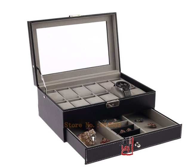 8604733e3 Black Leather 12 Men's Watch Box with Jewelry Display Drawer Lockable Watch  Case Organizer