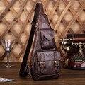 Homens Fivela de Cinto de Couro Genuíno Do Vintage Ombro Mensageiro Desequilíbrio Sling Peito Bag